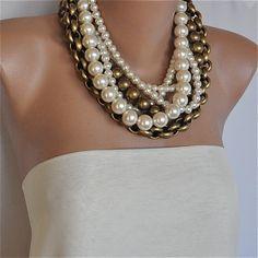 Vintage inspired Chunky Layered Pearl by HMbySemraAscioglu on Etsy, $104.00