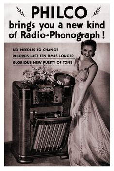 """1940 Philco Radio-Phonograph ad, introducing the 1941 models with new """"Beam of Light"""" technology"""