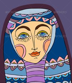 Girl Face Purple Headscarf #GraphicRiver Portrait of the girl in a violet…