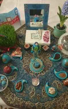 Haft sin Persian Religion, Iranian New Year, Ahura Mazda, Haft Seen, Qajar Dynasty, New Year Table, Persian Beauties, Magic Day, Persian Culture