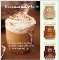 Cinnamon Dolce Latte: 1 Cube Simply Vanilla 1 Cube Simply Cinnamon 1 Cube Perk Me Up