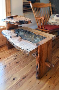Rustic+live+edge+oak+end+table+with+epoxy+resin+inlay