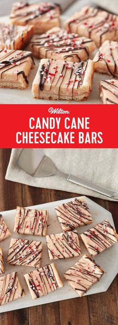 Candy Cane Cheesecake Bars Recipe - If you need a tasty and easy to make treat for your next holiday party or family gathering, try this classic cheesecake bar recipe with a holiday (peppermint) twist! This delicious and decadent cheesecake drizzled with cocoa Candy Melts candy and sprinkled with Wilton Peppermint Crunch can be cut into individual bars, so they are easy for guests to pick up and enjoy. No forks required for less cleanup and more holiday fun! Makes about 12 servings.