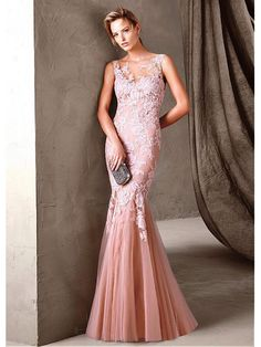 Mermaid Lace Tulle Long Prom Formal Evening Dresses 99501045