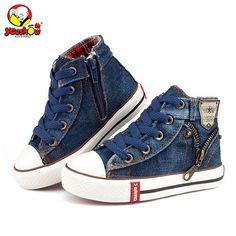 2018 Toile Enfants Chaussures de Sport Respirant Garçons Sneakers Marque Enfants  Chaussures pour Filles Jeans Denim Casual Enfant Plat Bottes 25-37 2b0a31c8e6ab