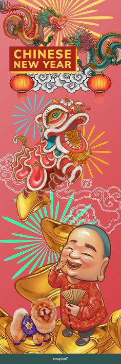 Chinese New Year Poster, Chinese New Year Design, Chinese New Year Card, New Years Poster, Chinese New Year Dragon, Chinese Style, Design Chinois, New Year Illustration, Art Projects