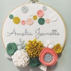 Custom Embroidery Hoop Art, Wall Art, Baby Shower Gift, Nursery Room Decor, 3-D Felt Flowers, Confetti Garland, Pink, Grey, Mustard and Teal