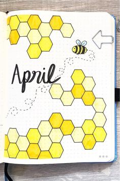 If you want to change up your entire theme for the month, check out these super fun bee bullet journal spread ideas to get some inspiration! Bullet Journal Mood Tracker Ideas, April Bullet Journal, Bullet Journal Cover Ideas, Bullet Journal Lettering Ideas, Bullet Journal Banner, Bullet Journal Notebook, Bullet Journal School, Bullet Journal Spread, Bullet Journal Ideas Pages