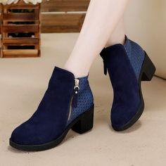 Aliexpress.com: Comprar Deletrean color mate mujer cuero bota de espesor Martin botas cortas con estilo con cremallera mujer botines de Botas fiable proveedores en Guangzhou Mai Shun Da leather Factory