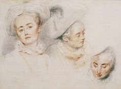 Watteau, 'Three Studies of a Woman Wearing a Feathered Hat', c.1716-17.Red, black and white chalk and stumping on paper. 232 x 310 mm. Calouste Gulbenkian Museum, Lisbon.
