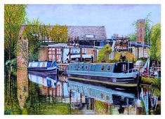 Moored Canal Boats in an Industrial Landscape Permanently Moored Canal Boats in an Industrial Landscape. Watercolour, gouache, pen and ink. on extra smooth 250 gsm Bristol Board. Image Size: X cm Watercolour Painting, Landscape Watercolour, Private Viewing, Bristol Board, Canal Boat, Classic Paintings, West Midlands, Puzzle Art, Gouache