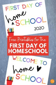 Free First Day of Home School Printables! Celebrate the first day of homeschool with these cute free printables. Perfect for virtual school and distance learning too! Back To School Hacks, Going Back To School, School Stuff, Homeschool Curriculum, Homeschooling, First Day Printable, Kids Schedule, School Routines, Planner Tips