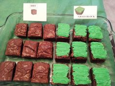 Minecraft birthday brownie blocks
