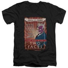 BATMAN/TWO FACES - S/S ADULT V-NECK - BLACK -