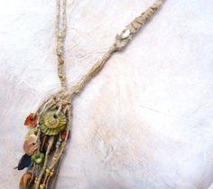 The beach comber Artisan necklace talisman tribal drilled stone porcelain beads hemp linen