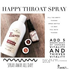 Happy Throat Spray (should say fill way with thieves mouth wash) Essential Oils For Cough, Essential Oils Cleaning, Essential Oil Uses, Young Living Oils, Young Living Essential Oils, Oil For Cough, Thieves Spray, Throat Spray, Mouthwash
