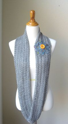 SPRING INFINITY SCARF  Gray Scarf / /Flower Patch by marianavail, $20.00