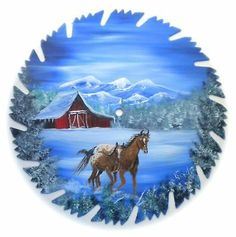 Hand Painted Saw Blade Art Mountain Red Barn Horses Mother and Colt
