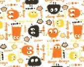 Orange n Black Ooga Booga on White Velour Stretch Knit Fabric, by the Yard
