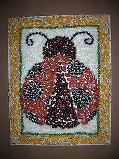 bean mosaic that could easily be done by a child