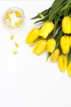 Styled desktop stock images by Shay Cochrane for creatives and small business owners.  www.shaycochrane.com  Yellow, tulips, tacks, office