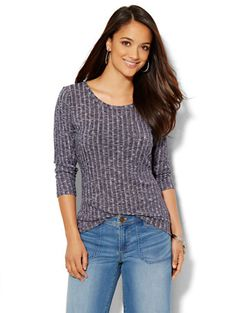 Shop Heathered Ribbed-Knit Tee . Find your perfect size online at the best price at New York & Company.