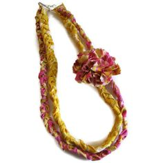 Pink Yellow  Fabric Braided Necklace with Pink Yellow Flower. $18.00, via Etsy.