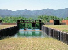 Pool as continuation of landscape through house Casa Rural, designed by RCR Arquitectes