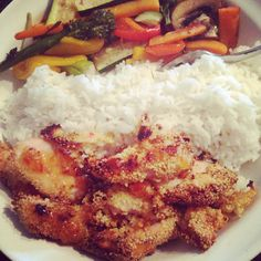 Sweet chilli chicken with rice and #superfree roasted veggies all #freefood on #extraeasy #slimmingworld #foodoptimising #happyslimming