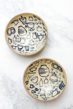 Handmade ceramics from Greek island of Sifnos. A tiny bowl to hold sea salt or condiments