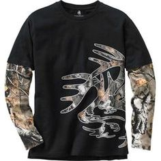 An awesome combination of our popular Signature Buck buck tee with set-in camo sleeves - both in Big Game® Camo.  Exclusive Legendary® tailored tee made from premium 100% cotton featuring side vents, extended tail, and full color over-sized screen print.