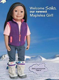 "Saila is the newest doll from Maplelea - a Canadian company who makes 18"" dolls for play and collecting. She is such a cutie."