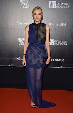 Diane Kruger Cannes Film Festival Lookbook: At the Cannes Festival Haiti Carnival benefit, Diane Kruger donned a stunning Jason Wu sheer lace gown, paired with ankle-strap sandals.