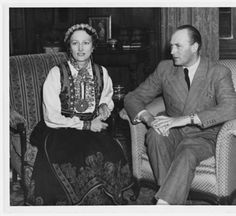 Crown Prince Olav and wife Martha of Norway in a gorgeous bunad, on visit to Fargo, N., vintage photo Image from the NDSU Institute for Regional Studies. Old Photos, Vintage Photos, Maud Of Wales, Regional, Norway, Photo Galleries, Royalty, Prince