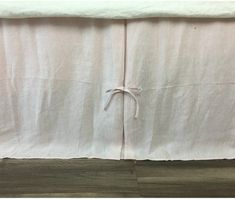 Blush Pink Linen Bed Skirt with Pleated Sides and Ties, 15-24 drop or Custom Size, Light Pink Bed Skirt Custom Bed Skirt
