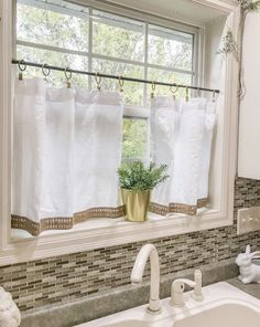 New white cafe curtain with burlap trimming Curtains Tassel Pom Pom Curtains, Striped Curtains, Cafe Curtains, Custom Curtains, Interior Room Decoration, Home Decor, Room Interior, Burlap Window Treatments, White Cafe