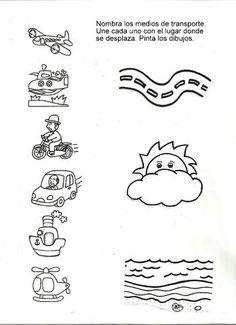 lilipazp uploaded this image to 'Mis laminas para PK'. See the album on Photobucket. Tracing Worksheets, Science Worksheets, Kindergarten Worksheets, English Activities, Teaching Activities, Educational Activities, Free Preschool, Preschool Science, Transportation Theme Preschool