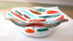 Fused Glass Wavy Dish in Stained Glass in Clear with Teal and Peach accents. www.ebay.com/usr/MattsGlassAct