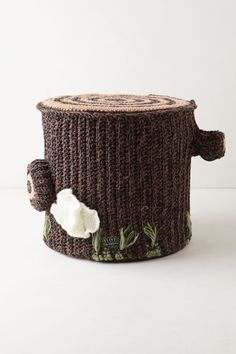 Plush Crocheted Tree Trunk Stool...if only I had $$$ to burn or knew how to crochet!  {Anthropologie.com}