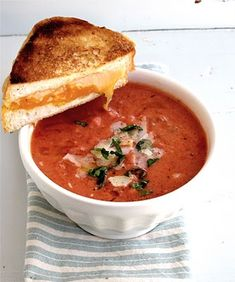 Tomato Basil Soup recipe, with link to The Best Grilled Cheese.