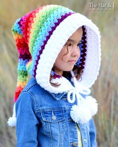 Crochet PATTERN - Over the Rainbow - crochet hood pattern, pixie hat, rainbow fairy hood pattern (Ch Col Crochet, Crochet Hood, Bonnet Crochet, Crochet Beanie, Crochet For Kids, Crochet Baby, Crocheted Hats, Chunky Crochet, Booties Crochet