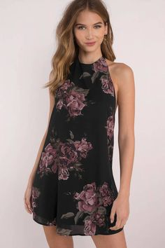 Rose To The Occasion Black Multi Floral Print Swing Dress