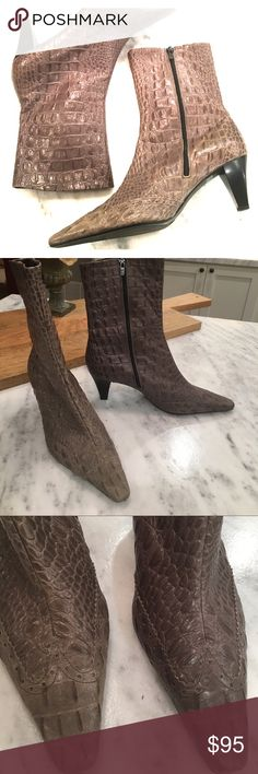"""Peter Kaiser Gray/Taupe Stamped Alligator Boots 💰 Peter Kaiser Gray Alligator Booties.  Taupe (grayish brown color).  9.5.  Black Suede interior.  2-3"""" stacked wood heel. Pointy Toe.  Good Used Condition / barely worn. Peter Kaiser Shoes Ankle Boots & Booties"""