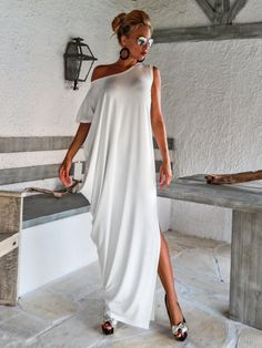Ivory Maxi Dress Kaftan with Lace Mesh Details / Asymmetric