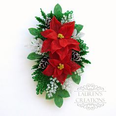 French Beaded Poinsettia and Pine Cone Wall Hanging - by Lauren Harpster of Lauren's Creations