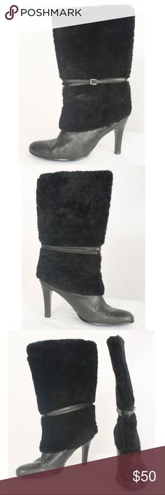 "Lauren Ralph Lauren Black Leather/Faux Fur Boots Lauren Ralph Lauren Size 9M Black Leather and Faux Fur Mid Calf Boots 702 B816  Black leather and faux fur mid calf boots with strap detail at ankle. Stacked heel, rounded toe and big fur cuff. Non slip sole. Gently worn.  Size: 9M  Measurement:   Shaft Height - 13"" Shaft Diameter - 7"" Heel Height - 4"" Lauren Ralph Lauren Shoes Heeled Boots"