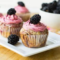 Blackberry Cupcakes! I will have to try this with our blackberries! :) Yum! :)