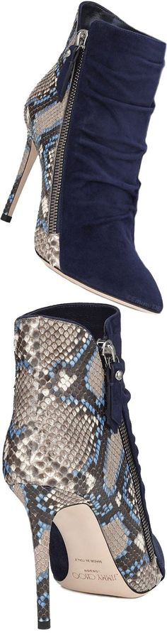 Jimmy Choo Navy and Snakeskin Booties