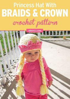 This Princess Crown with Braids crochet pattern is an adorable hat that fits right in with a princess costume. Perfect for costume parties, Halloween, or whenever your little one feels like wearing it. This crochet pattern is best suited for toddlers and is a hat with long braids attached to the sides or the head.