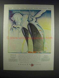 1932 Italian Line Ad - Two Ships World Has Waited For